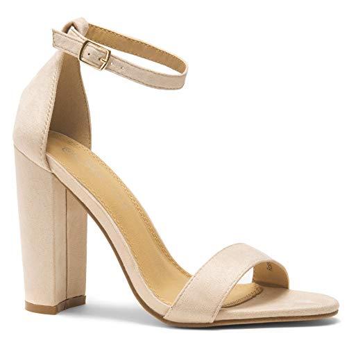 Herstyle Rosemmina Open Toe Ankle Strap Chunky Heel. Nude 8.0