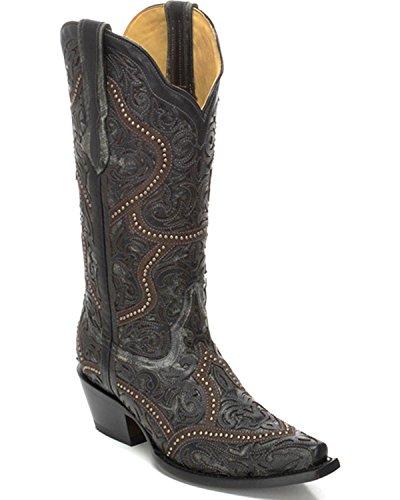 Corral Womens Full Overlay E Borchie Cowgirl Boot Snip Toe - G1310 Nero