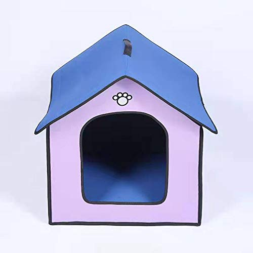 MARIS Waterproof Plastic Dog Kennel Outdoor Pet Bed Tent Cat House Supplies Cave Kitty Puppy Mat Travel Nest Cage,Purple,M