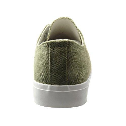 Angkorly - Scarpe da Moda Sneaker low donna intrecciato Tacco tacco piatto 0 CM - Verde