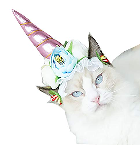 Unicorn Headband for Cat and Dogs Halloween Headwear Hoop with Flowers Pet Cosplay Accessories Holiday Custume ()