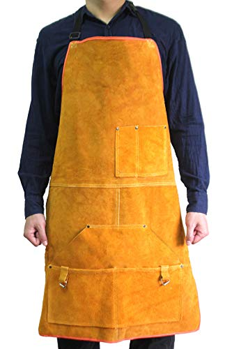 Leather Welding Apron Flame-Resistant Heat Resistant Work Apron Fire Resistant Welding/Welder Smock, 24 x 36 Inch, 6 Pockets by Handook (Image #2)