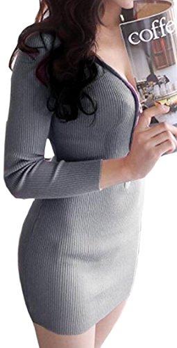 Mini Zipper Womens Neck Grey Jaycargogo Long V Dress Half Bodycon Sleeve Sexy FACzzTwdnq