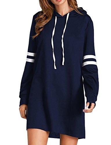 Felpa Felpa con Pullover manica con inverno in cappuccio autunno cotone cappuccio casual con Tunica classico Cindeyar donna lunga blu cappuccio rtqpr7