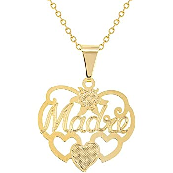 40cb048dd3 In Season Jewelry 14k Gold Plated Mom Madre Love Heart Family Pendant  Necklace 19