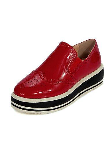 De Eu39 us7 Redonda Casual mocasines Red 5 Uk6 Patentado Plano Cn38 Eu38 Hug Red us8 5 tacón cuero Mujer Uk5 Njx Cn39 Punta plataforma Zapatos Rojo exterior negro EwU8BnxqA