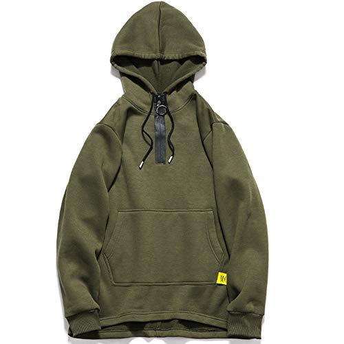 XinDao Men's Lauren Classic Full-Zip Fleece Hooded Sweatshirt Army Green US (Pigment Dyed Cotton Full Zip)