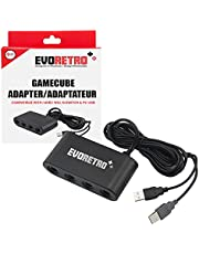Adapter for Gamecube Controller Wii U, Switch, and PC USB - 4 Port by EVORETRO (Black)