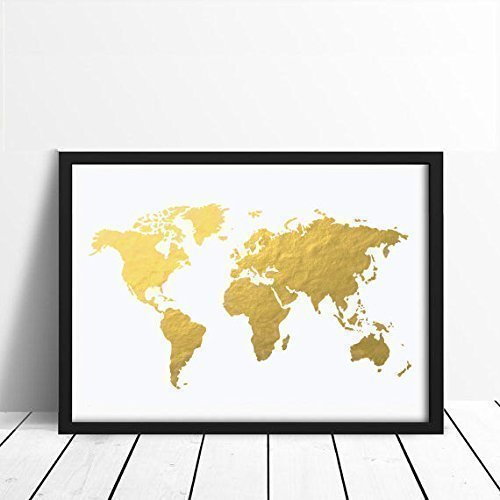 Amazon world map poster real gold foil map print gold foil world map poster real gold foil map print gold foil world atlas gumiabroncs