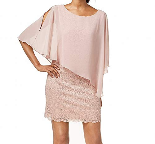 Connected Apparel Women's Dress Sheath Lace Chiffon Popover Pink 6