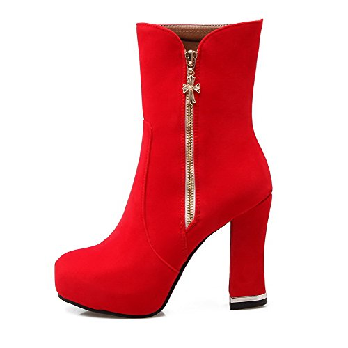 Top Allhqfashion Boots High Red Mid Women's Solid Zipper Heels vqqCFnxI