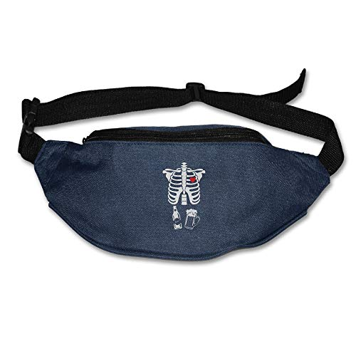 Ada Kitto X Skeleton Beer Xray Mens&Womens Sport Style Waist Pack For Running And Cycling Navy One Size by Ada Kitto