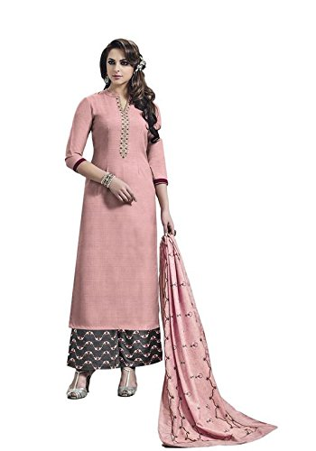 1acb745a28 Style New Peach Embroidered Banarasi Silk Party Wear Palazzo Salwar Suit:  Amazon.in: Clothing & Accessories