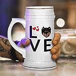 Custom Beer Mug Love Hearts English Shepherd Dog Ceramic Drinking Glasses Beer Gifts White 18 OZ Design Only 11
