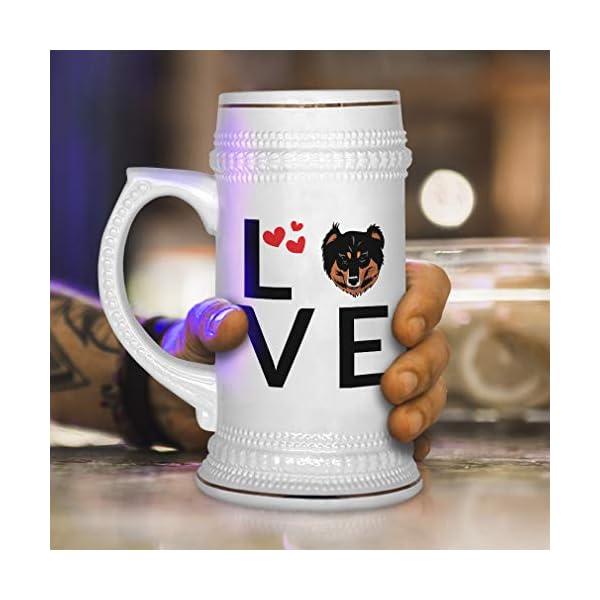 Custom Beer Mug Love Hearts English Shepherd Dog Ceramic Drinking Glasses Beer Gifts White 18 OZ Design Only 4