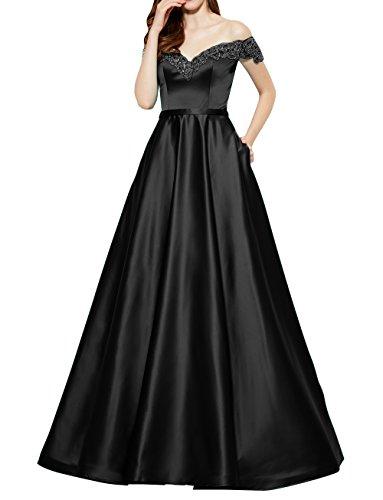 Kurzarm Abendkleider mia Partykleider Linie Schwarz Brau La Abschlussballkleider Brautmutterkleider Satin A Lang Schulterfrei CTxXFqdwt