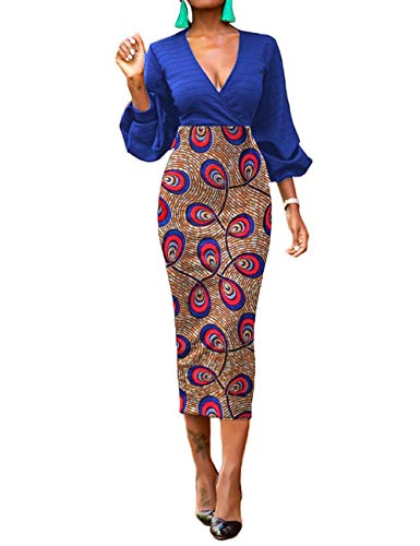 Women's Traditional African Print Dashiki Bodycon Long Sleeve Low Collar Dress (Print Dress African)