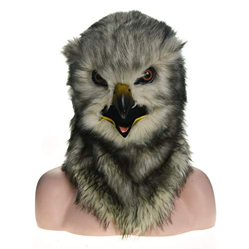 LUANAYUN-TOYS Realistic Animal Furry Mask Factory Direct Selling Fur Halloween Moving Mouth Mask Owl Simulation Animal Mask Animal Head Mask ( Color : Grey , Size : 2525 ) -