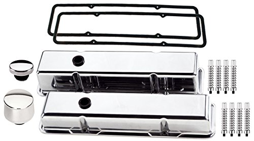 NEW BILLET SPECIALTIES SMALL BLOCK CHEVY SHORT POLISHED ALUMINUM VALVE COVER SET WITH SMOOTH COVERS, SMOOTH BREATHER, OIL FILL CAP, RIBBED HOLD DOWNS, & PERMALIGN GASKETS