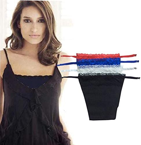 Pack of 6 NEW Mock Camisole Clip-on Snappy Cami with Lace Overlay Modesty Panels
