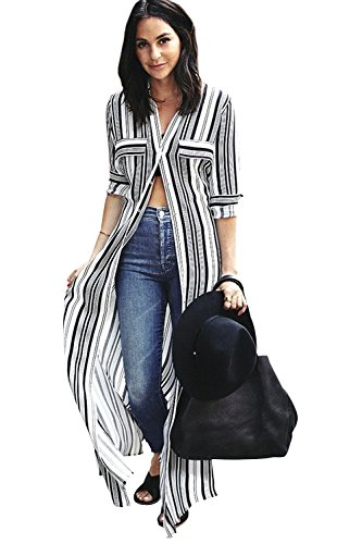LAMISSCHE Womens Striped Slit Button Down V Neck Roll up Sleeve Maxi Shirt Dress(White 2,M) ()