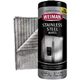 Weiman Stainless Steel Cleaning Wipes [Large Microfiber Cloth]- Non Toxic Removes Fingerprints Residue Water Marks and Grease from Appliances - Works Great on Refrigerators Dishwashers Ovens Grills