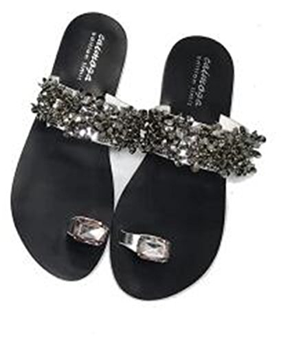 SUKULIS Women Sandals Flip Flops Rhinestone Wedges Shoes Woman Slides Crystal Beautiful Lady Casual Shoes Silver 11 by SUKULIS