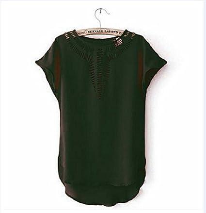 hippolo Mujer Camisa para mujer Chic blusa muselina de seda ...