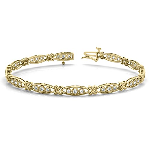 1/3 Carat TW Diamond Three Stone Bracelet in 10K Yellow Gold