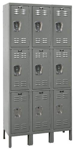 Hallowell U3258-3HG Hallowell Gray Steel Premium Wardrobe Locker, 3 Wide with 9 Opening, 3 Tier, 36'' Width x 78'' Height x 15'' Depth, Knock Down by Hallowell