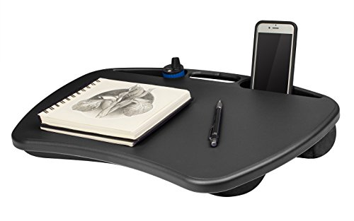 LapGear Lap Desk  MyDesk 15 - Black, LapDesk Surface Supports up to 15.6' Laptop, Ultra Soft Fleece Cushion