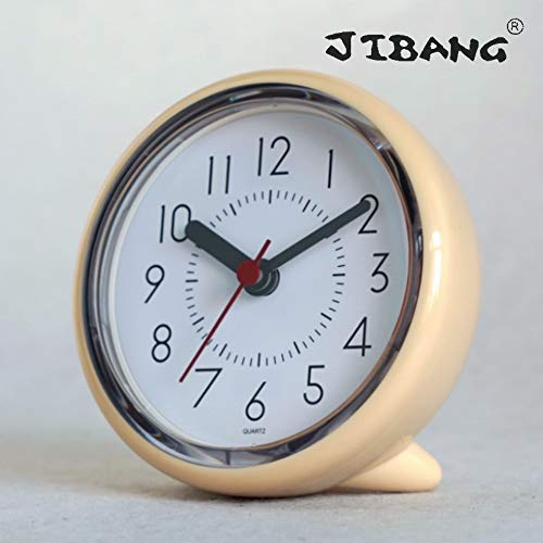 JIBANG Suction-cup Waterproof Bathroom Wall Clock, Desktop Clocks for Bathroom, 4 Inches Silent Non-Ticking Prevent Mist Wall Clock, Light Yellow (Champagne) ()