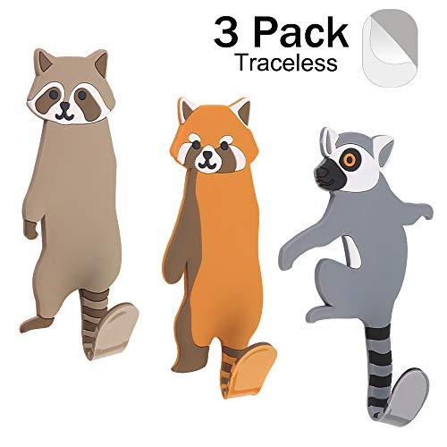 Elegear Cute Animal Adhesive Wall Hooks, Reusable Waterproof Removable Key Hook for Home, Kitchen, Bathroom, Set of 3 (Raccoon) (Hooks Key For Home)