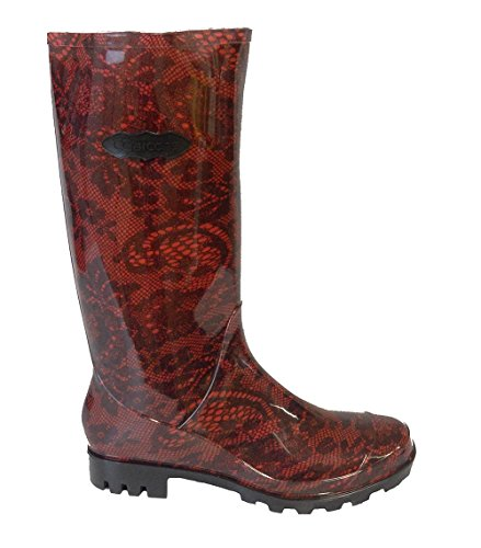 P328 RED WITH BLACK FLOWER LACE FUNKY WOMENS LADIES GIRLS WELLIES WELLIE BOOTS RAIN SNOW SIZES 3, 4, & 5, BESTIVAL, READING & V FESTIVAL *UK SELLER*