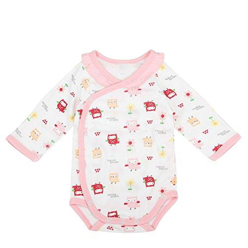 Babiesnature Owl and Pony Kimono Bodysuit Baby Long sleeve Onesie Bamboo Cotton (3m, pink) - Long Sleeve Bamboo Kimono