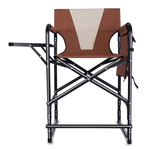 Tall Director's Chair Folding Portable Camping Chair, Makeup Artist Collapsible Chair with Side Table Storage Bag Footrest, Supports 300LBS - Padded Director Chair Cover
