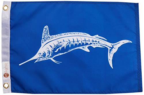 Taylor Made Products 3018, Fish Flag, Nylon, 12 inch x 18 inch, Marlin, White ()