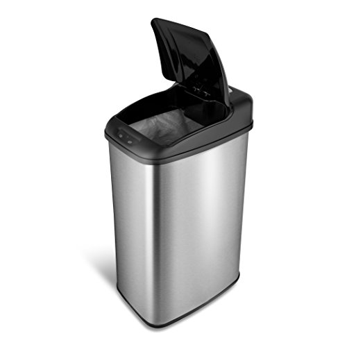 NINESTARS DZT-50-6 Automatic Touchless Motion Sensor Rectangular Trash Can, 13.2 Gal. 50 L., Stainless Steel
