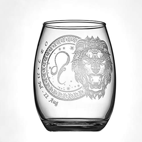 Laser Engraved Zodiac Star Sign Wine Glass (Leo); 15oz Glass
