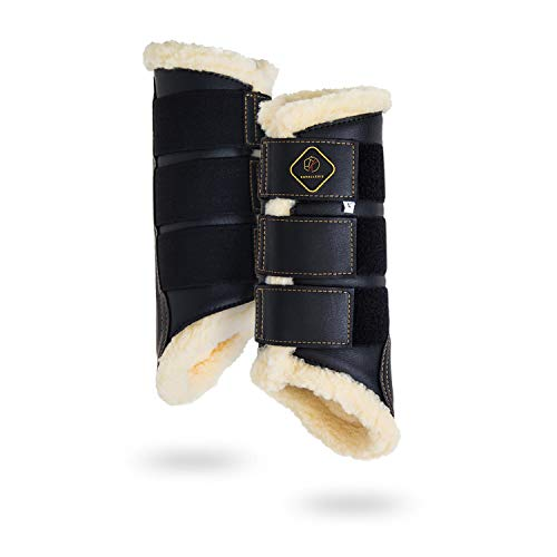Kavallerie Dressage Horses Boots: Fleece-Lined Faux Leather Woof Brushing Boots for Training, Jumping, Riding, Eventing - Quick Wear for Breathable, Lightweight & Impact-Absorbing Wrap Black