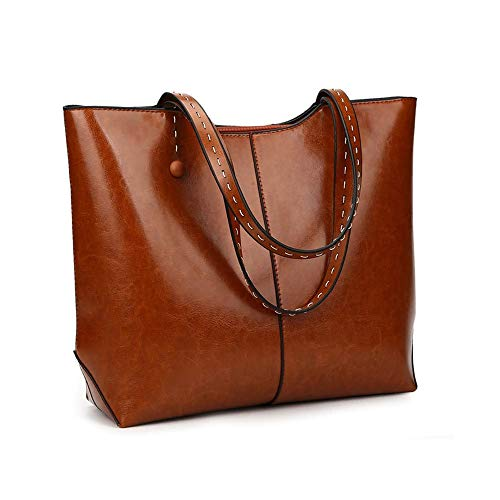 PrimaLuce Women's Vintage Genuine Leather Tote | Shoulder Bag | Top Handle Satchel