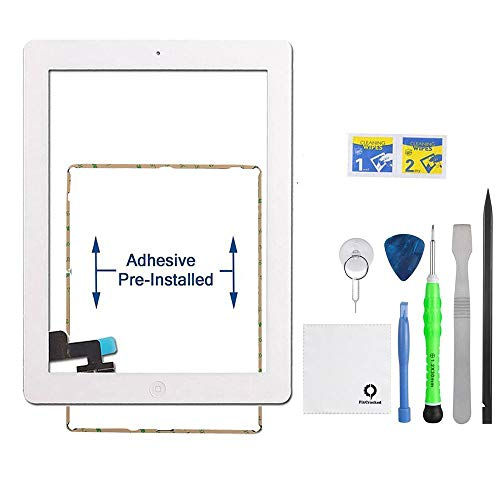 iPad 2 Screen Replacement,FixCracked iPad 2 Digitizer Touch Screen Front Glass Assembly White-Includes Home Button + Camera Holder + PreInstalled Adhesive with tools kit