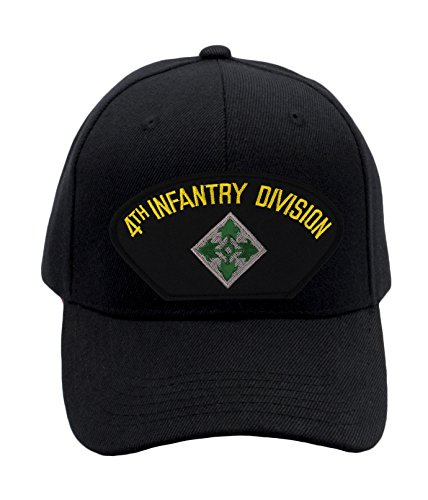 Patchtown 4th Infantry Division Hat/Ballcap (Black) Adjustable One Size Fits Most