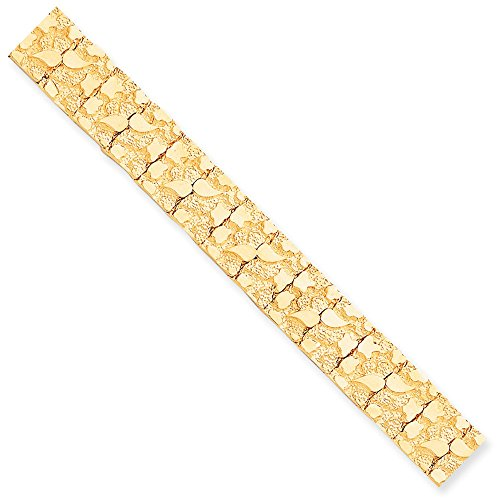 Solid 10k Yellow Gold Big Heavy 15.0mm NUGGET Bracelet 7
