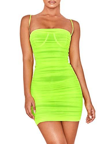 (UONBOX Women's Ruched Organza Mesh Mini Summer Club Strap Dress Neon Green L)