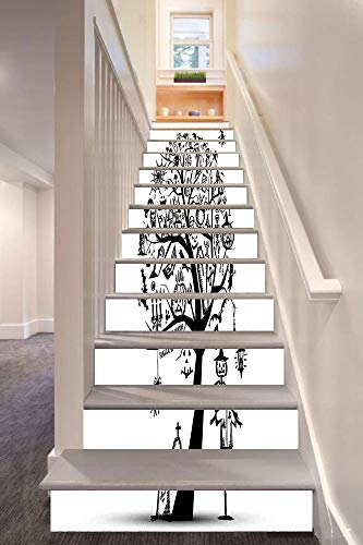 (anselc05ls Halloween Decorations 3D Stair Riser Stickers Removable Wall Murals Stickers,Sketchy Spooky Tree with Spooky Decor Objects and Wicked Witch Broom,for Home Decor 39.3