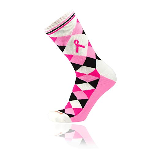 - TCK Elite Breast Cancer Aware Ribbon Argyle Crew Socks Pink Black (Large, White/Pink/Hot Pink/Black)
