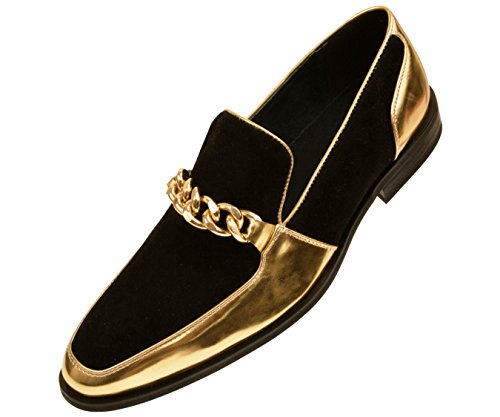Amali Mens Microfiber & Patent Slip On Dress Shoe with Large Chain Style Vino/Gino ()