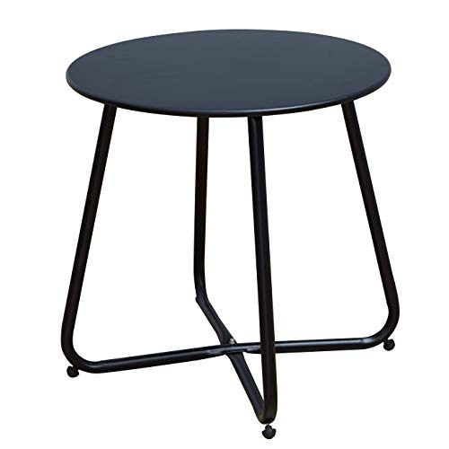 Grand patio Steel Patio Coffee Table, Weather Resistant Outdoor Side Table, Small Round End Tables,Black