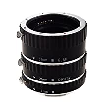 SODIAL(R) Colorful Metal TTL & Autofocus AF Macro Extension Tube Ring for all Canon EF and EF-S lenses Canon EOS EF EF-S 60D 7D 5D II 550D (Silver Black)